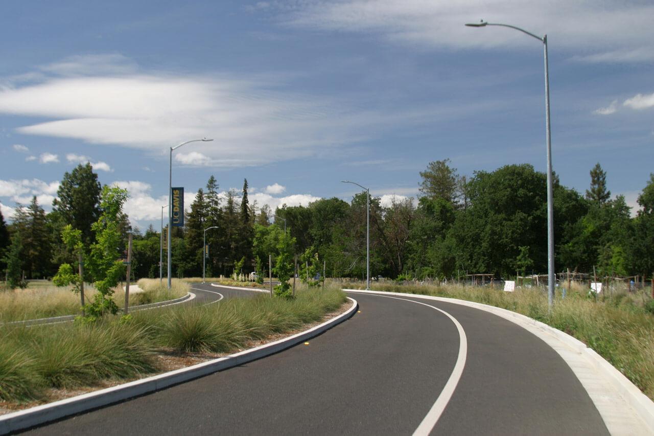 UC Davis Old Davis Road extension landscaping median strip road rehabilitation