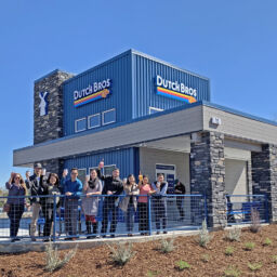 Bennett Engineering staff celebrate the opening of our client's new Dutch Bros location.